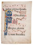 Leaf from an Antiphonal, most probably of Franciscan Use, with a large illuminated initial, in La
