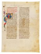Leaf from a Promissione Ducale, the oath sworn by the doge of Venice, with two historiated initia