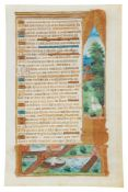 Leaf from a Book of Hours with a finely painted border with a dog and three monkeys, in Latin,