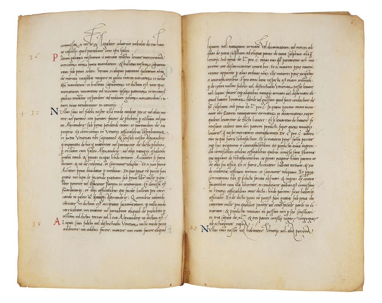 Leaves with the regulations of a mercantile fleet that set sail from Venice on 21 May 1504 for Al