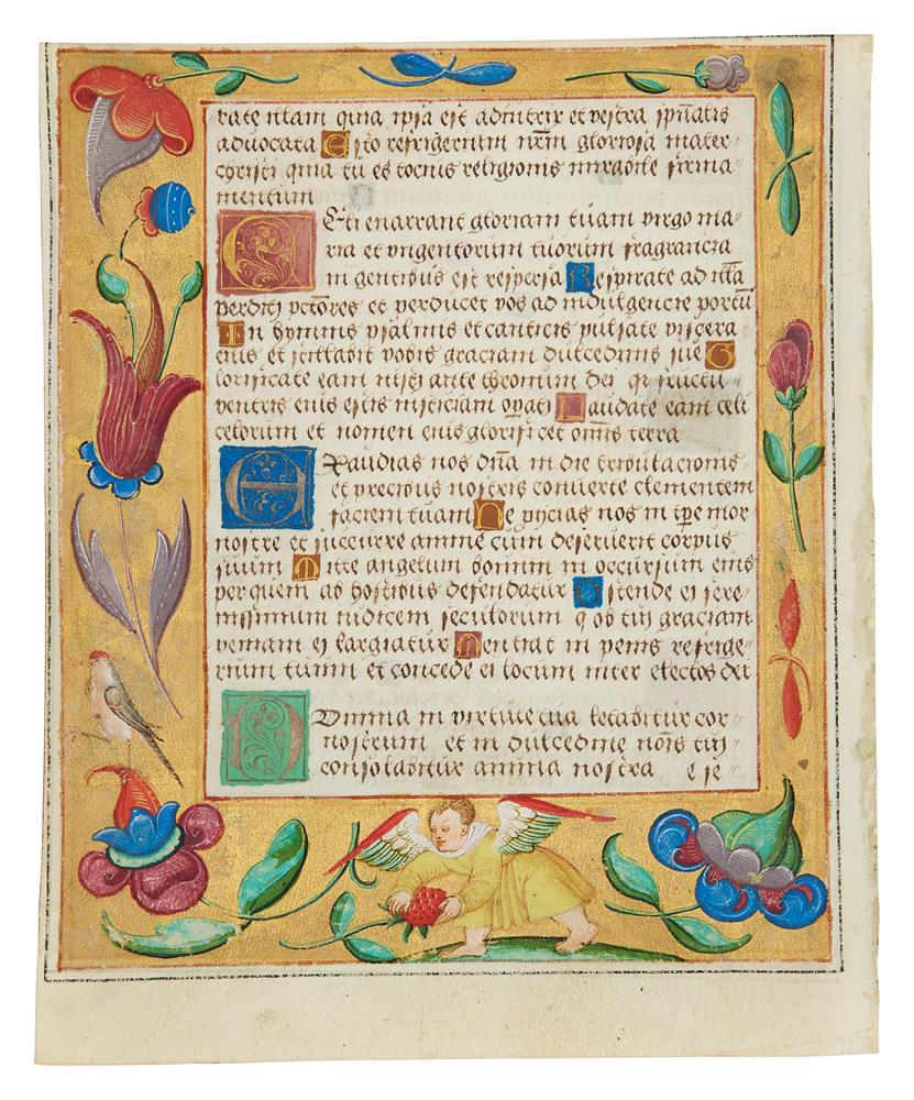 Leaf from a Psalter and Prayerbook, with rabbits playing music and dancing in the margin, in Lati - Image 2 of 2