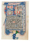 Leaf from a Psalter-Hours or Prayerbook of Brigittine Use, in Latin, decorated manuscript on parc