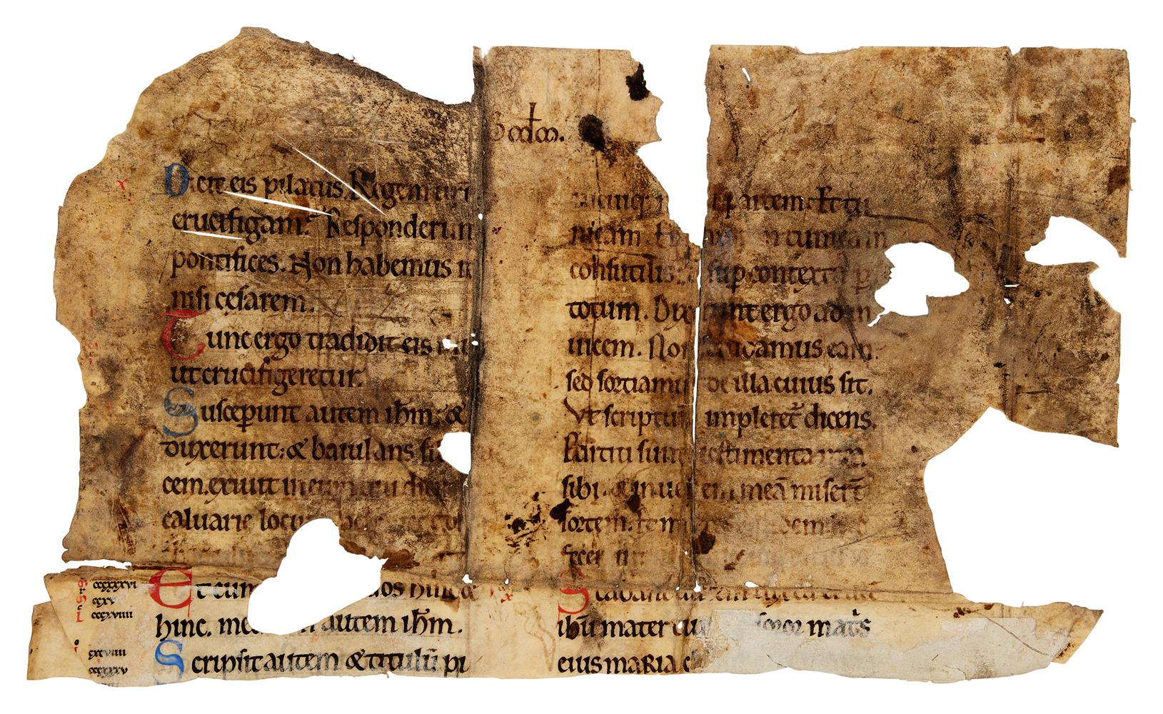 Fragment from a leaf from a Bible or Gospel Book, in Latin, decorated manuscript on parchment [Fra - Image 2 of 2