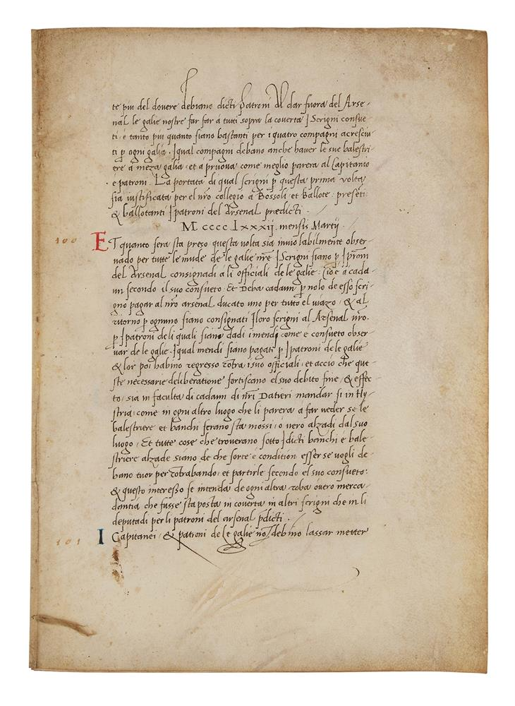 Leaves with the regulations of a mercantile fleet that set sail from Venice on 21 May 1504 for Al - Image 8 of 9