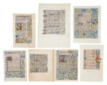 Collection of leaves from Books of Hours, in Latin and French, decorated or illuminated manuscrip
