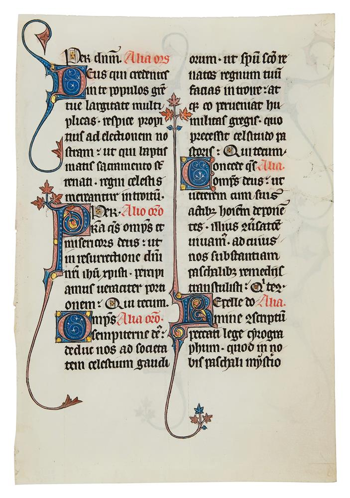 Leaf from the celebrated Beauvais Missal, with a single animal-headed drollery, in Latin, - Image 2 of 2