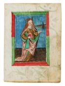 Leaf with a full-page miniature of St. Lucy of Syracuse, from a prayerbook in German, illustrated