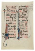 Leaf from the celebrated Beauvais Missal, with three animal-headed drollery creatures, in Latin