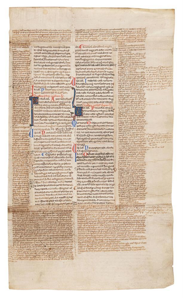 Collection of leaves from legal manuscripts, in Latin, on parchment [thirteenth to fourteenth cen - Image 3 of 8