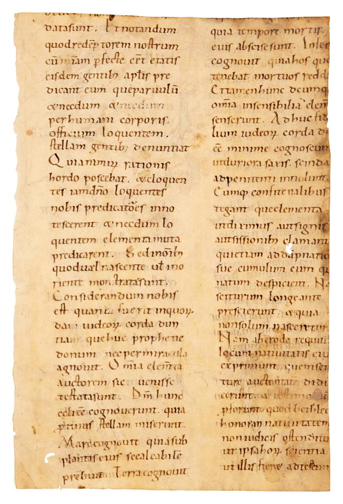 Fragment of a leaf from a Homiliary, with large coloured initials, in Latin, decorated manuscript - Image 2 of 2