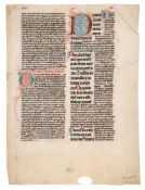 Leaf from a Psalter, with Great Gloss of Peter Lombard, in Latin, decorated manuscript on parchme