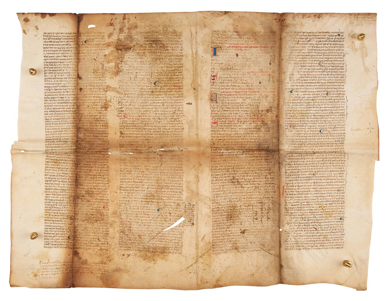Collection of leaves from legal manuscripts, in Latin, on parchment [thirteenth to fourteenth cen - Image 6 of 8