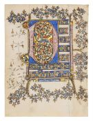 Two leaves from the Bute-Soissons Hours, in Latin, opulently illuminated manuscript on parchment