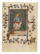 Leaf from an early Book of Hours, Use of Rome, with a miniature of Christ enthroned as the Salva