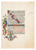 Two leaves from a Book of Hours, in Latin, illuminated manuscript on parchment [Italy (probably M