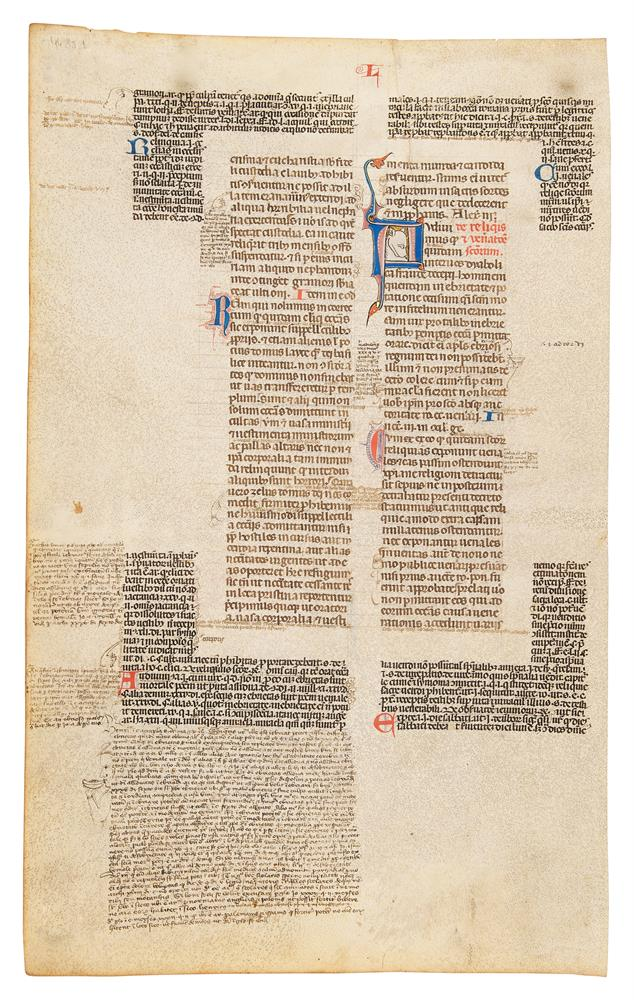 Collection of leaves from legal manuscripts, in Latin, on parchment [thirteenth to fourteenth cen - Image 2 of 8