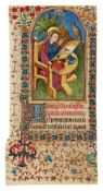 Leaf from a lavishly illuminated Book of Hours, with its miniature filled in by a modern artist,