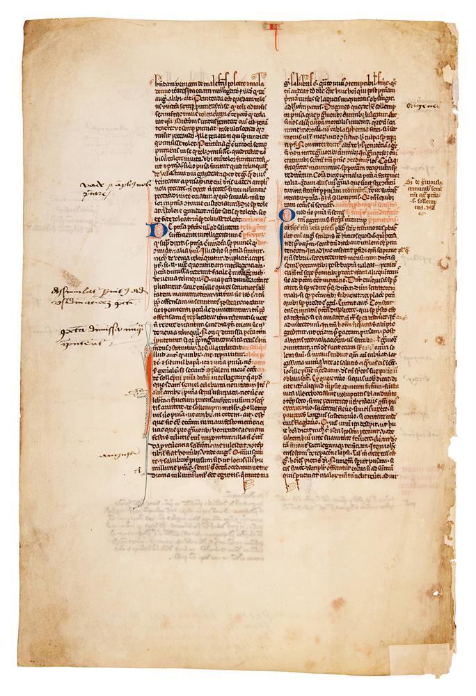 Two leaves from a copy of Peter Lombard, Libri Quattour Sententiarum, in Latin, manuscript on par - Image 2 of 4