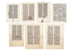 Collection of leaves from medieval Bibles, in Latin, decorated or illuminated manuscripts on parc