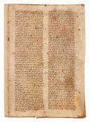 Leaf from a copy of Innocent IV, Apparatus in Quinque Libros Decretalium, in Latin, manuscript on