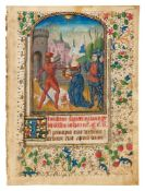 Leaf from a Book of Hours, with a miniature by the 'Spanish Forger', in Latin, illuminated manusc