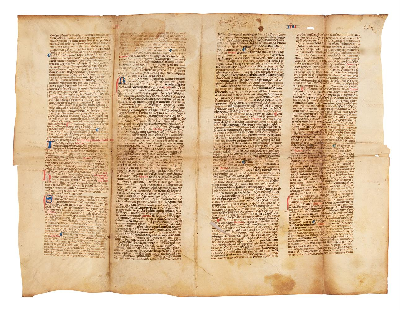 Collection of leaves from legal manuscripts, in Latin, on parchment [thirteenth to fourteenth cen - Image 5 of 8