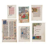 Collection of leaves from devotional books, in Latin and Dutch, illuminated manuscripts on parchm