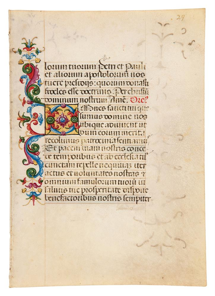 Two leaves from a Book of Hours, in Latin, illuminated manuscript on parchment [Italy (probably M - Image 3 of 4