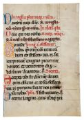 Three leaves from a finely illuminated English Sacramentary, Use of Sarum, in Latin, decorated