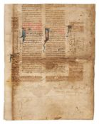 Leaf from a copy of Justinian, Corpus Iuris Civilis, in Latin, decorated manuscript on parchment