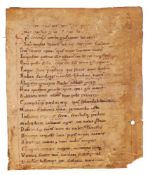 Leaf from an early copy of Arator, De Actibus Apostolorum, in Latin verse, with an apparently un