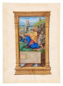 The Agony in the Garden, a large miniature from a Book of Hours, with a text leaf from the same,