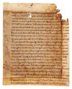 Leaf from Jerome, Commentary on Matthew 27:47-56, in Latin, manuscript on parchment [probably Ger
