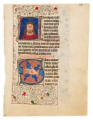 Two leaves with the Crown of Thorns and the Wounds of Christ in historiated initials, from a Book