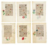 Twenty-six leaves from a Book of Hours, each with delicately painted flowers attributable to Corn