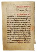 Two leaves from a Gospel Lectionary, in Latin, decorated manuscript on parchment [Germany, twelft