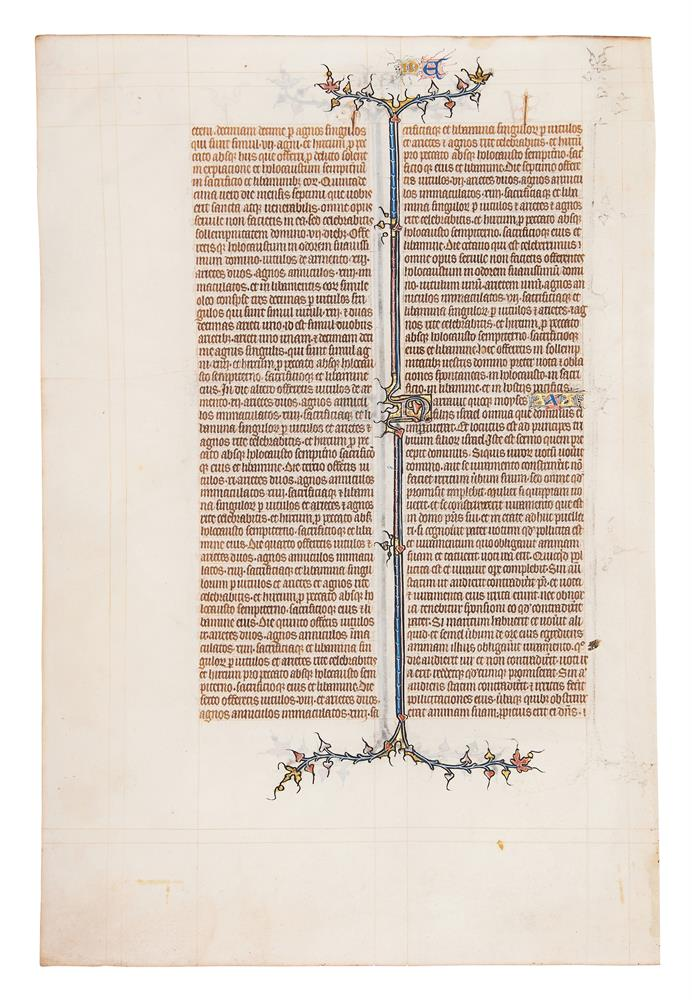 Leaf from the St Albans Abbey Bible, in Latin, illuminated manuscript on parchment [northern Fran - Image 2 of 2