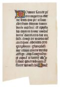 Leaf from a large illuminated Pontifical, in Latin, manuscript on parchment [France, fifteenth ce