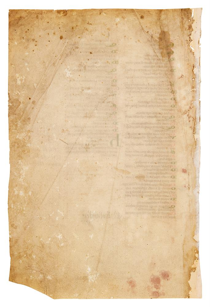 Two leaves from a copy of Peter Lombard, Libri Quattour Sententiarum, in Latin, manuscript on par - Image 4 of 4