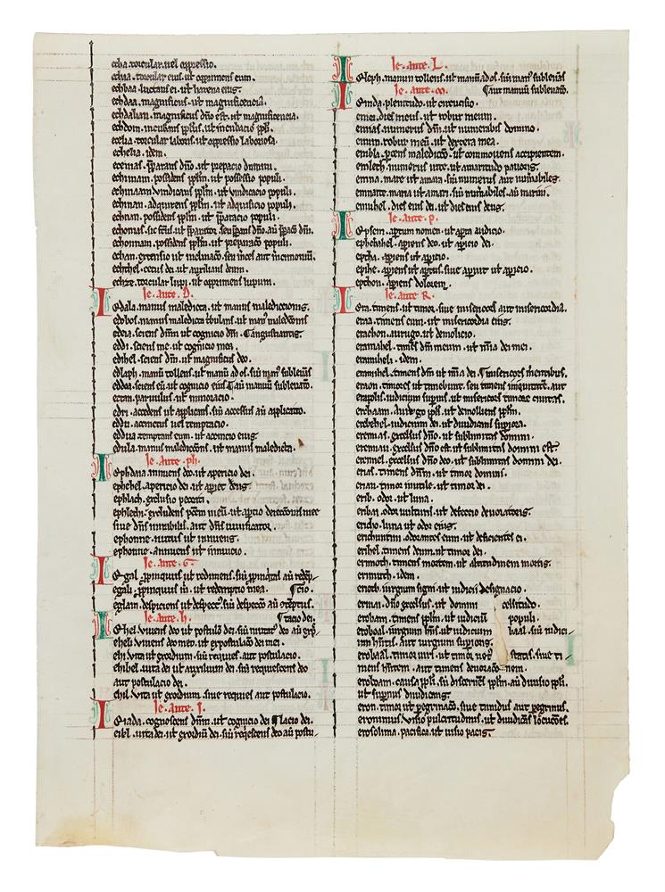 Leaf from a Bible, with the Interpretation of Hebrew Names, in Latin, decorated manuscript on par