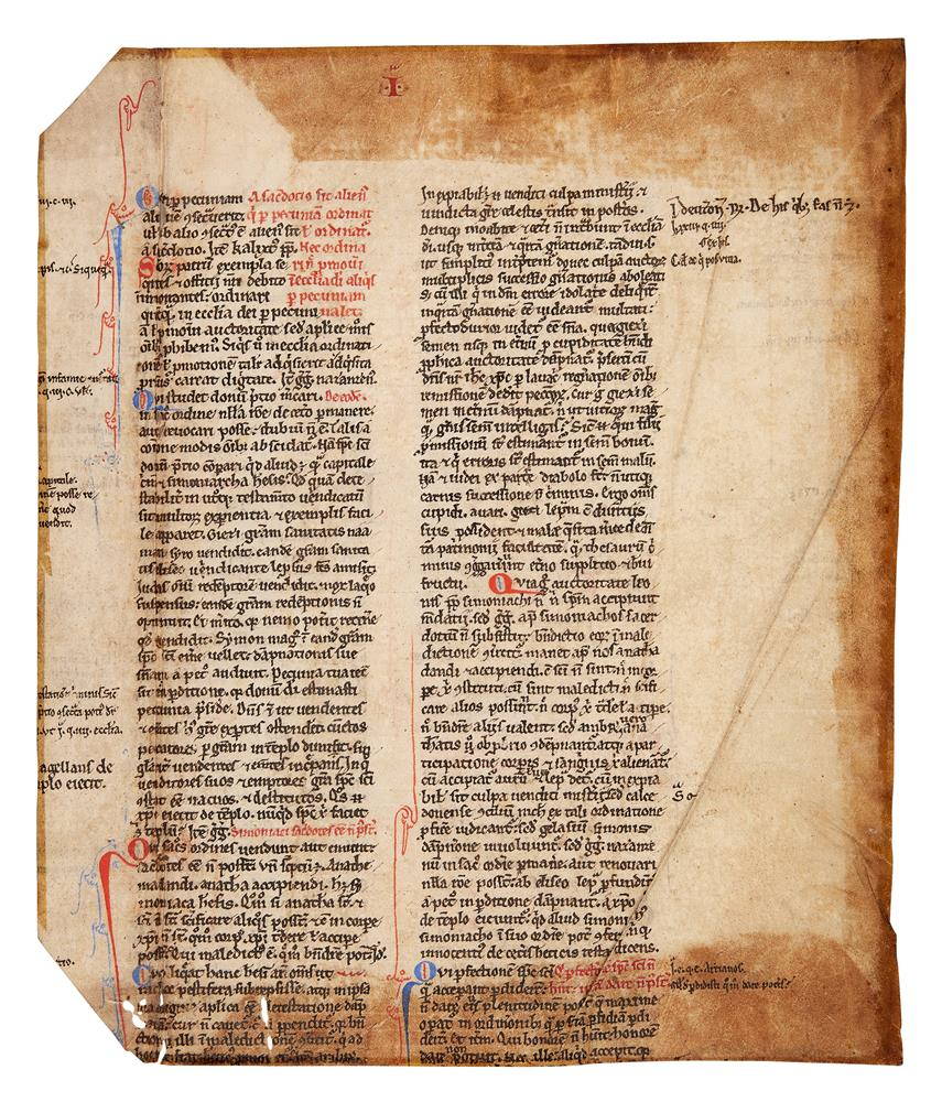 Leaf from an early copy of Gratian, Decretum, in Latin, decorated manuscript on parchment [France