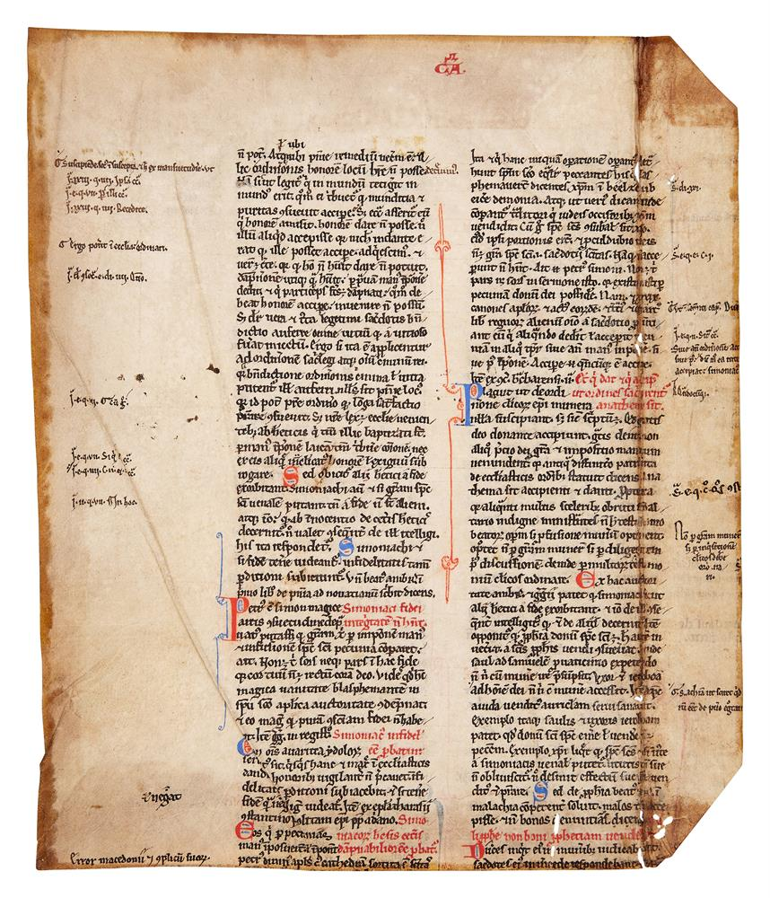 Leaf from an early copy of Gratian, Decretum, in Latin, decorated manuscript on parchment [France - Image 2 of 2