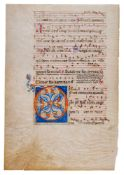 Leaf from an early Choirbook, with a large decorated initial incorporating a dragon, in Latin,