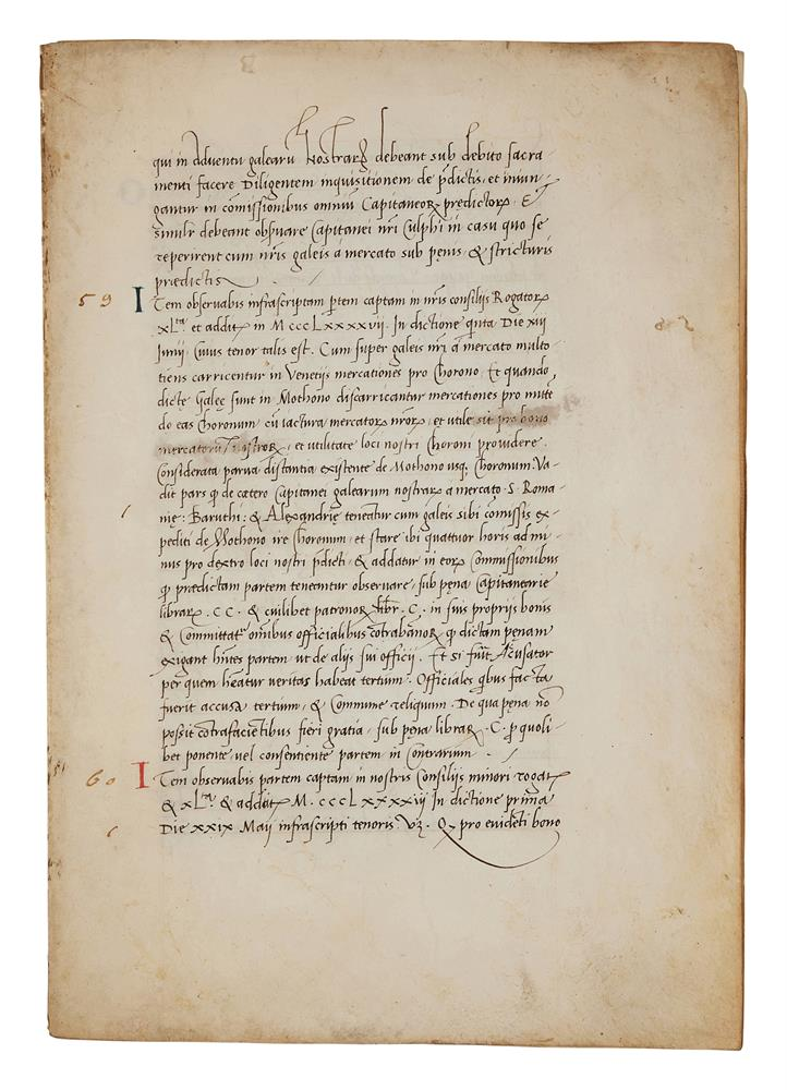 Leaves with the regulations of a mercantile fleet that set sail from Venice on 21 May 1504 for Al - Image 5 of 9
