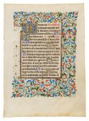 Two leaves from an opulently illuminated Book of Hours, Use of Rome, in Latin, manuscript on parc