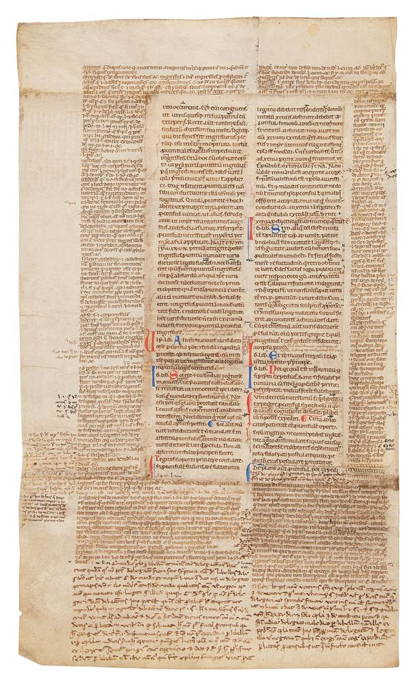 Collection of leaves from legal manuscripts, in Latin, on parchment [thirteenth to fourteenth cen - Image 4 of 8