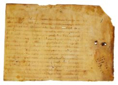 Two cuttings from an early Liber Pontificalis, in Latin, manuscript on parchment [perhaps Poland,