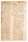 Fragment of a leaf from a Homiliary, with large coloured initials, in Latin, decorated manuscript