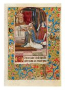 Miniature of Pope St. Gregory's vision, on a leaf from a Book of Hours, Use of Angers, in Latin,