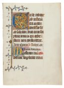 Leaf from an early Book of Hours, in Latin, illuminated manuscript on parchment [France (probably